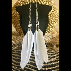 Jewelry - 🕊🕊Long WHITE FEATHER Earrings 🕊🕊  NWT 🏷